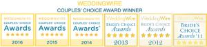 WeddingWire Couples' Choice Award Winner 2016, 2015, 2014, 2013, 2012, 2011